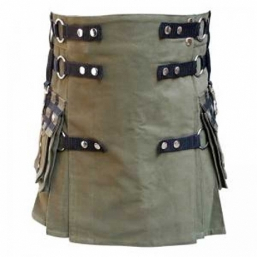 OLIVE-LADIES-KILTS-CANVAS-KILT-WITH-BLACK-ACCENTED-STRAPS