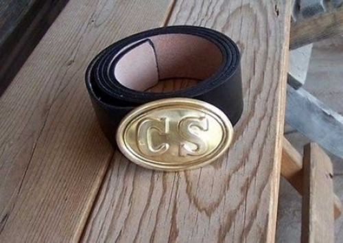 CIVIL-WAR-BLACK-LEATHER-BELT-WITH-CS-OVAL-BRASS-BUCKLE.