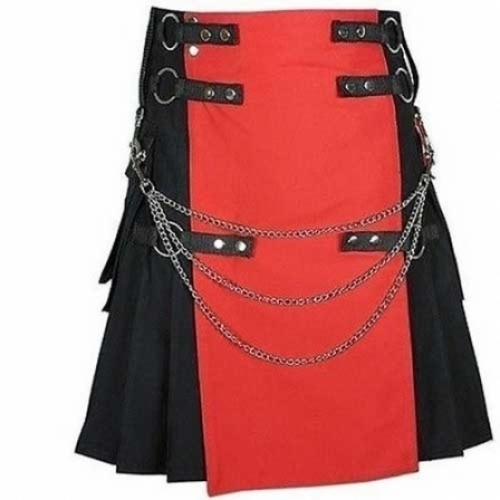UTILITY-COTTON-RED-&-BLACK-FASHION-KILT