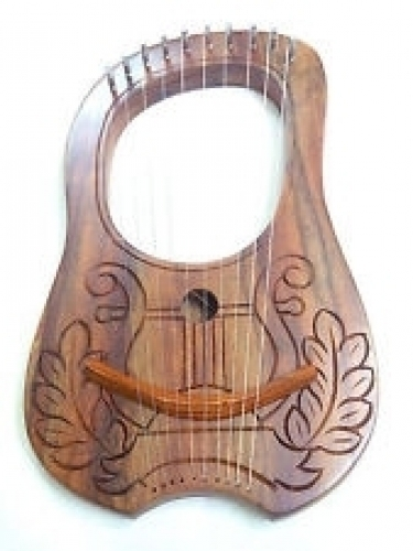 New-Engraved-Lyre-Harp-Rosewood-10-Metal-Strings-With-Free-Carrying-Case&-Key
