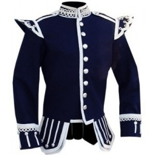 Navy-Blue-Highland-Doublet-Silver-Piping