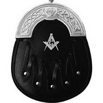 Masonic-Formal-Sporran-Black-Leather-Celtic-Chrome-Masonic-Badge-on-the-Face.