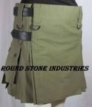 LADIES-OLIVE-GREEN-KILT-WITH-LEATHER-STRAPS