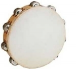 TAMBOURINES,-25-CM-DOUBLE/TWO-ROWS-OF-JINGLES,-NATURAL-GOATSKIN-NATURALLY