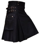 Black-Cotton-Drill-Fabric-Utility-Kilt-Antique-Brass-Buttons-with-studs