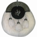 SPORRAN-IS-MADE-OF-WHITE-RABBIT-FUR-WITH-3-WHITE-FUR-TASSELS-DANGLING-ON-CHAINS.