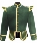 Dark-Green-Highland-Pipe-Band-Doublet-Gold-Piping-
