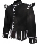 Black-Melton-wool-body-White-piping-trim-8-button-Black-Nylon